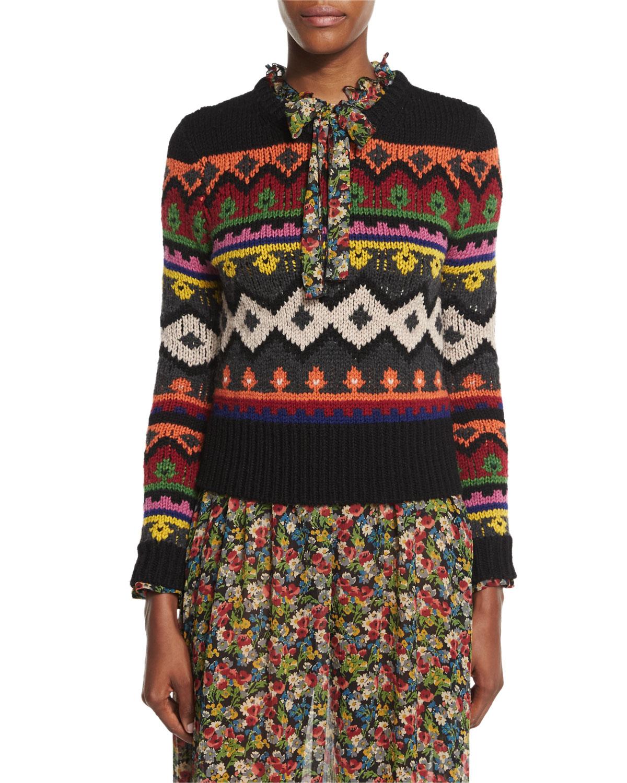 Fair Isle Graphic Intarsia Crewneck Sweater, Black Multi