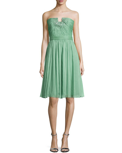 Strapless Embellished Chiffon Dress, Meadow