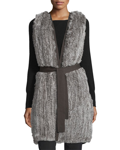 Fur-Front Sweater Vest W/Belt, Stone Gray