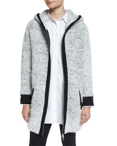 Adele Hooded Ribbed Sweater Coat, Ivory