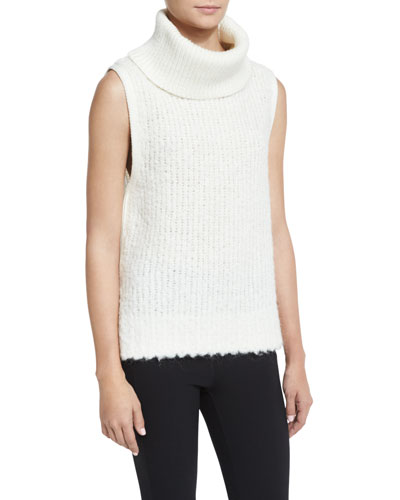 Adele Sleeveless Ribbed Turtleneck Sweater, Ivory