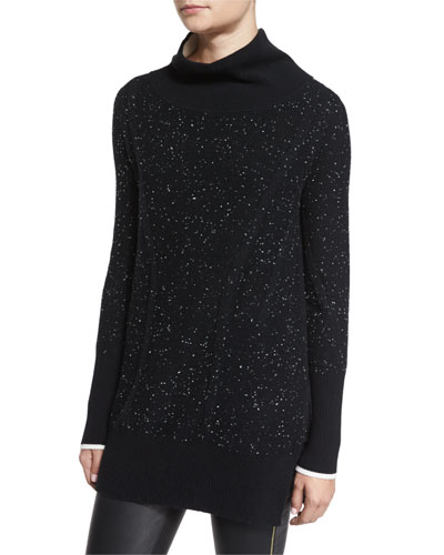 Tamara Melange Cashmere Tunic, Black