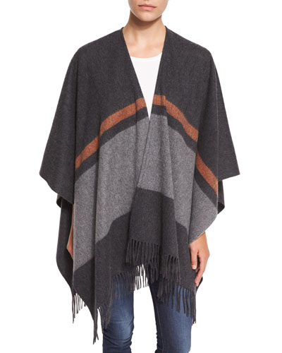 Varsity Stripe Wool Felt Wrap, Charcoal