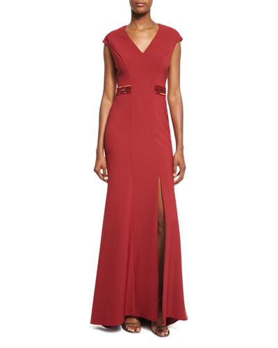 Beaded-Back Cap-Sleeve Gown, Ruby