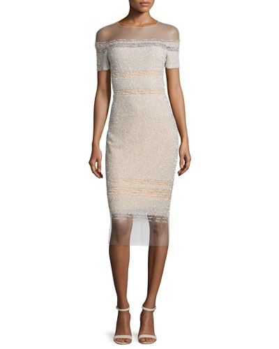 Signature Sequined Illusion Dress, Champagne