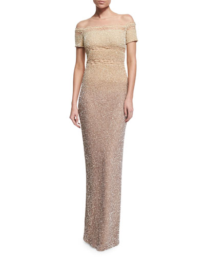 Signature Degrade-Sequined Column Gown, Champagne