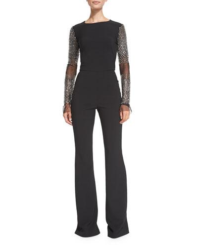 Beaded-Sleeve Flared Jumpsuit, Black
