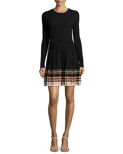 Long-Sleeve Ribbed & Pleated Sweater Dress w/ Patterned Trim, Black Multi