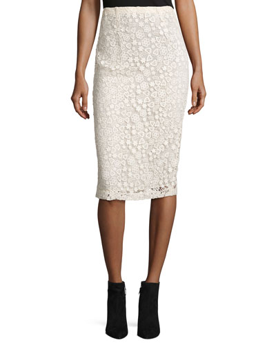 High-Rise Floral Macrame Pencil Skirt, Ecru
