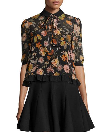 Floral Half-Sleeve Tie-Neck Blouse, Black
