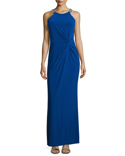 Twist-Front Beaded Neck Gown, Blue Beret