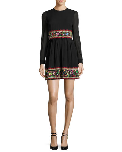 Long-Sleeve Stretch-Silk Dress w/ Garden Embroidery, Black