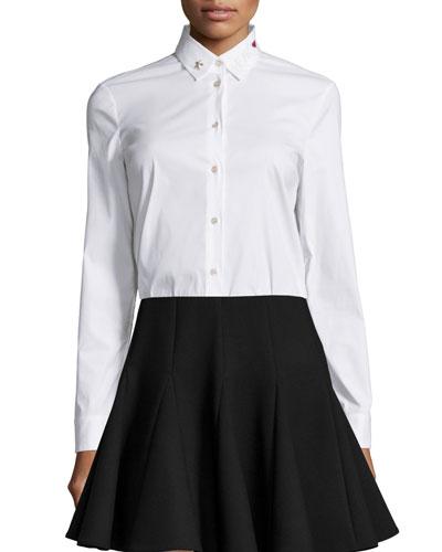 Embellished-Collar Poplin Blouse, White