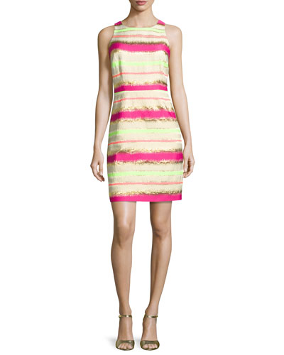 Multi-Stripe T-Back Dress, Electric Pink