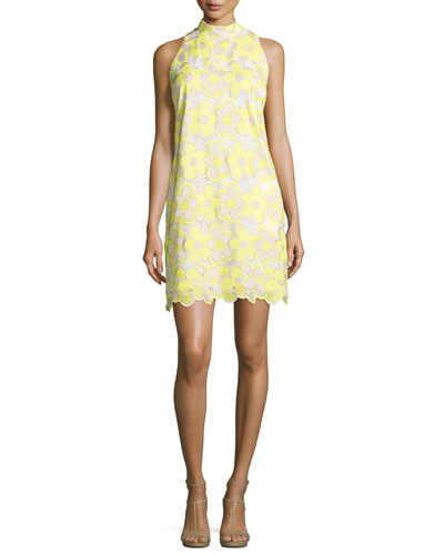 Sleeveless Mock-Neck Floral Lace Dress, Sunray