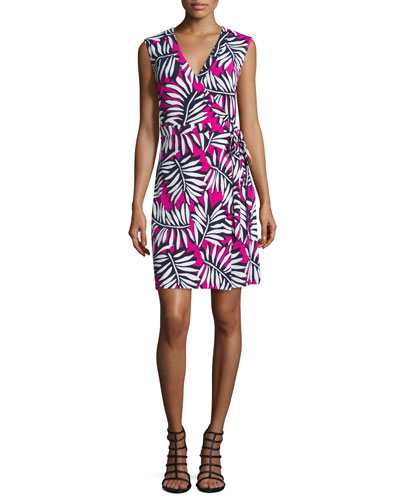 Twin-Print Sleeveless Wrap Dress, Electric Pink