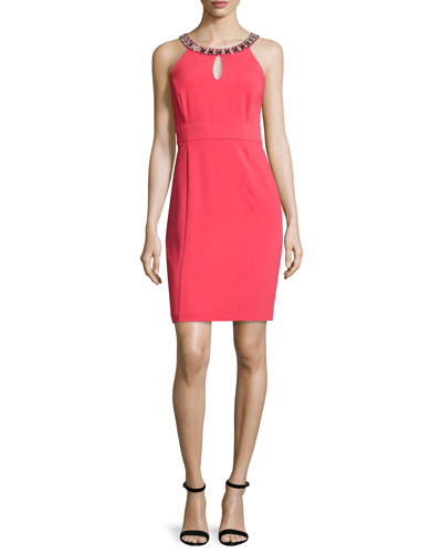 Sheath Dress with Embellished Neck, Coral Rage