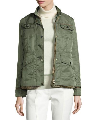 3-in-1 Convertible Jacket w/ Removable Rabbit Fur Vest