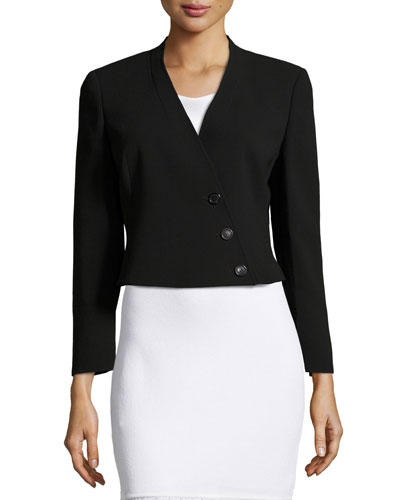 Pezzi Cropped Asymmetric Blazer, Black
