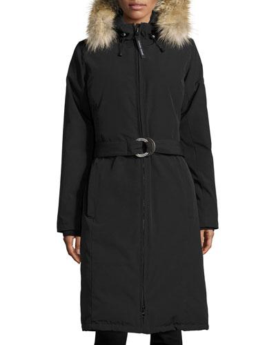 Whistler Fur-Trim Hooded Parka Coat, Black