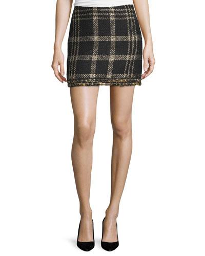 Bex Metallic Plaid Fringed Miniskirt