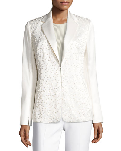 Dotted Long-Sleeve Silk Jacket, Calla White