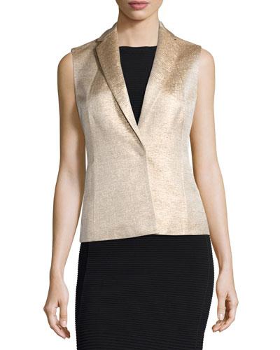 Sleeveless Silk Jacket, Gold