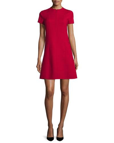 Apalia Short-Sleeve Zip-Front Dress, Dark Vermillion