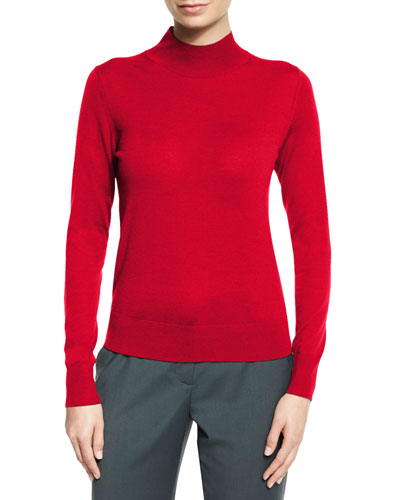 Sallie Refine Merino Wool Mock-Neck Sweater, Dark Vermillion