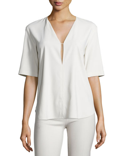 Antazie Bergen Crepe Top, Sandy White