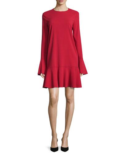 Marah Long-Sleeve Drop-Peplum Dress, Dark Vermillion