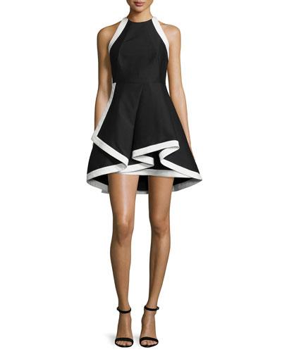 Sleeveless Fit-and-Flare Silk-Blend Mini Dress, Black/White
