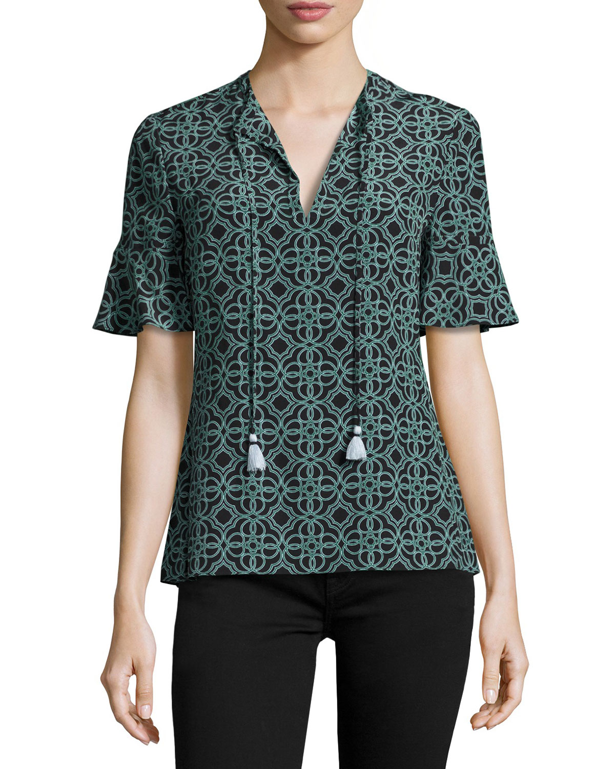 Massey Half-Sleeve Tile-Print Tasseled Silk Top, Black Pompidou