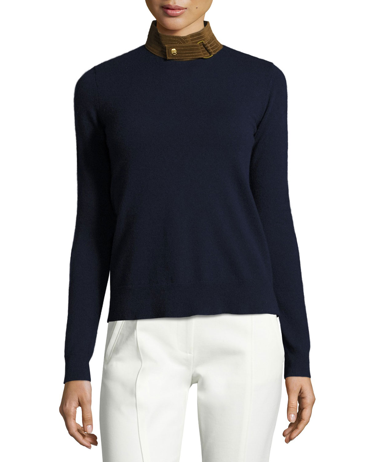 Flore Leather Stand-Collar Wool Sweater, Midnight Navy