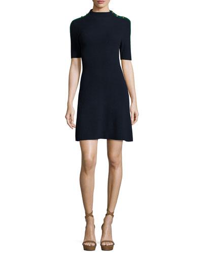 Sardy Half-Sleeve Ribbed Merino Dress, Midnight Navy