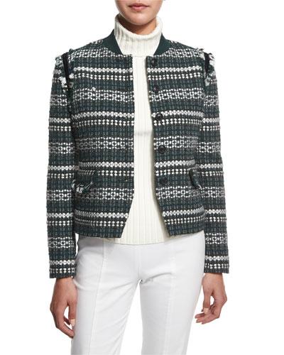 Norfolk Tweed Button-Front Jacket, Horseback Tweed