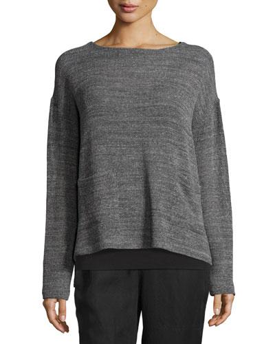 Melange Mesh Boxy Sweater, Ash