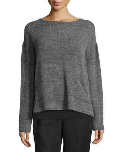 Melange Mesh Boxy Sweater, Ash, Petite