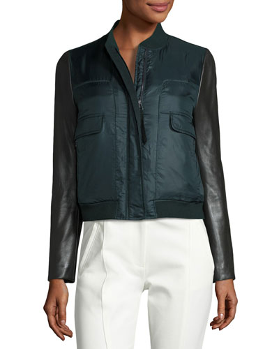 Marly Leather-Sleeve Bomber Puffer Jacket, English Green
