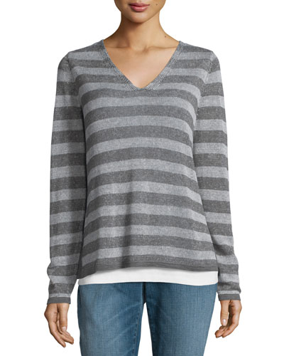 Organic Linen Striped Sweater