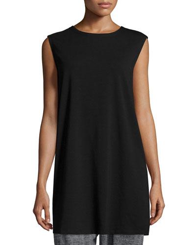 Cap-Sleeve Long Jersey Tunic, Black