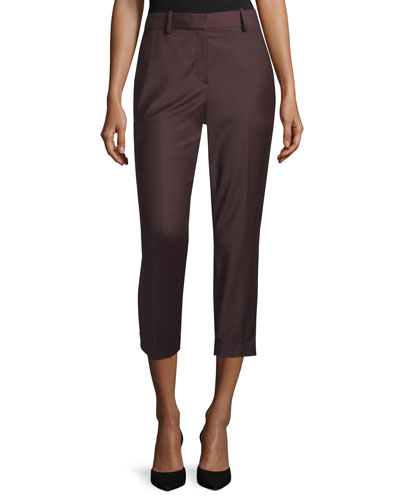Treeca Cl. Wool-Blend Cropped Pants, Garnet