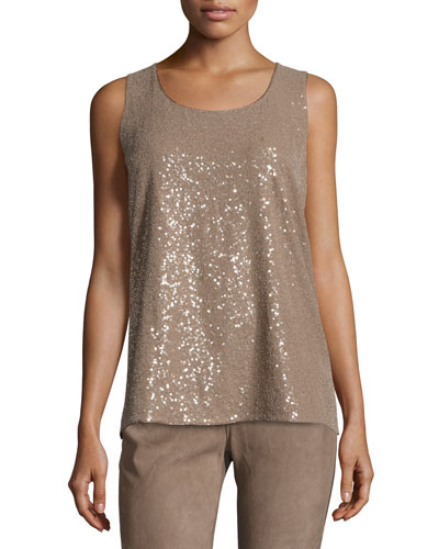 Elise Sleeveless Ombre Sequin Blouse, Taro