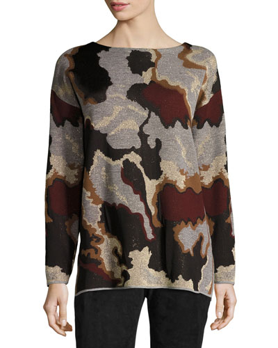 Metallic Camo Jacquard Wool Sweater, Light Nickel Multi