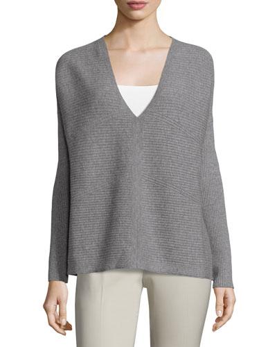 Oversized Ribbed V-Neck Sweater, Nickel