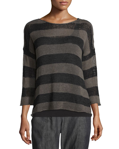 Crisp Organic Cotton Striped Sweater, Oregano