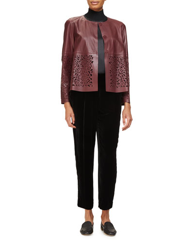 Tansy Cropped Laser-Cut Leather Swing Jacket, Cabernet