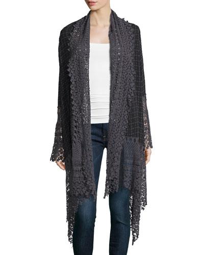Antoinette Georgette Jacket w/ Crochet Trim