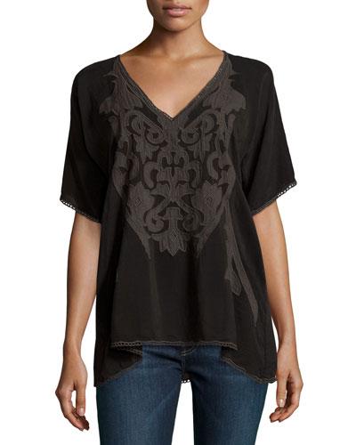 Sheradon Short-Sleeve Embroidered Top