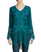 Lona Long Embroidered Tunic, Plus Size